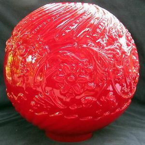 "10 1 2"" Ruby Red Cased Glass Ball Lamp Shade Fits 4"" GWTW Banquet Oil Lamp"