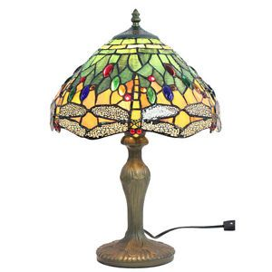 "Handcrafted Dragonfly Styled Tiffany Style Stained Glass Table Lamp w 12"" Shade"