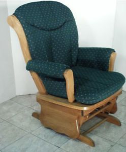 Oak Hunter Green Contemporary Glider Rocking Chair