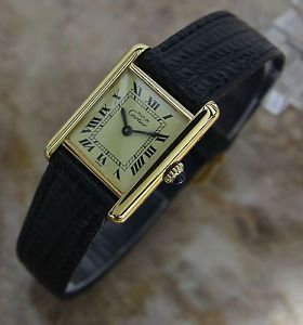 Ladies Swiss Must de Cartier Argent Tank Gold Plated Silver 925 Watch Immaculate