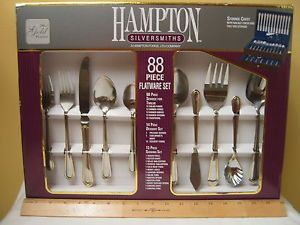 & Hampton Silversmiths 88 Piece 24KT Gold Plated Flatware Set