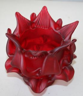 Vintage Cranberry Ruby Red Satin Glass Lamp Shade Globe Flower Rose Leaves