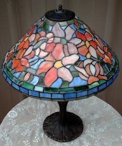 Older Tiffany Style Stained Glass Lamp Colorful Floral Flower Shade Ornate Base