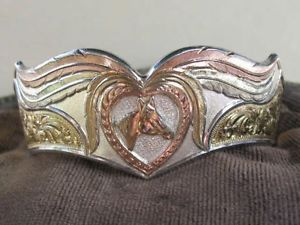 Montana Silversmiths Silver Gold Plated Horse Head Cuff Bracelet