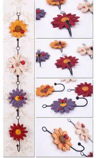 Rustic Ladybug Flower Resin Handwork Country Coat Hat Door Hanger Hooks Bedroom