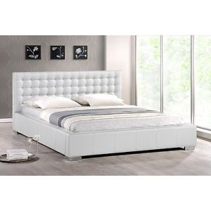 Tufted Contemporary Queen White Faux Leather Platform Bed Frame Headboard