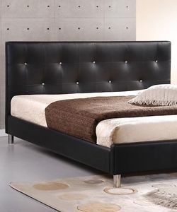Interior Exchange Outlet Queen Black Tufted Crystal Faux Leather Headboard