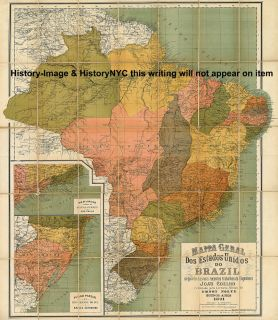 1891 Large Colorful Wall Map Brazil Mapa do Brasil