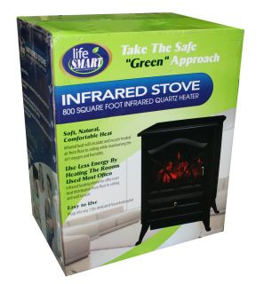 Lifesmart L Sifst s 1000W Electric Infrared Home Stove Fireplace Black 800SQ Ft