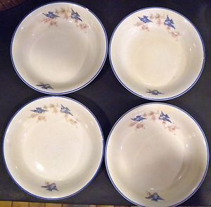 Four Vintage Bluebird Bowls Homer Laughlin Blue Edge Trim