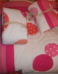 Pottery Barn PB Teen Dottie Quilt Full Queen Pink Coral Girls Bedding Kids