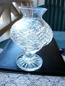 Waterford Crystal Alana Two Piece Signed Hurricane Lamp
