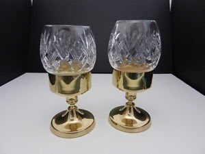 "Bohemia Hurricane Lamps 2 Cut Crystal Shades w Brass Base OL 8"" T"