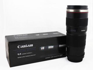 Camera Lens Mug Coffee Cup EF 70 200mm Stainless Steel for Canon Fans Gift Black