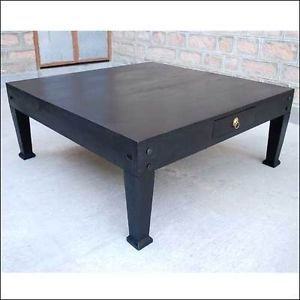 Black Solid Wood Large Sofa Cocktail Square Coffee Table Living Room Furniture