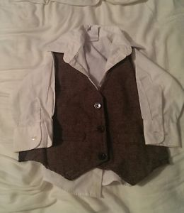 Boys Baby Toddler Dress Shirt Vest Tie Suit 18 Months 24 Months