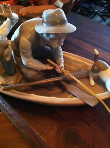 Lladro Figurine Old Man and Boy in Fishing Boat