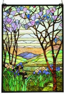 Magnolia Tiffany Style Stained Glass Window Panel 40x29