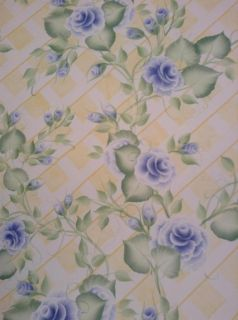 Donna Dewberry Blue Flowers on Yellow and White Lattice Background Pattern 33998