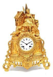 Antique French Figural Mantle Clock Bronze Empire Gilt Striking Mantel Clock