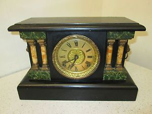 Antique Sessions Green Marble Enamel Lion Head Handles Mantel Mantle 8 Day Clock