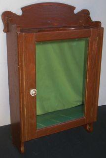Antique Oak Wall Mount Medicine Cabinet Mirror Glass Wood Shelves