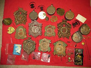 Large Lot Vintage Lux Columbia Mini Novelty Cuckoo Clocks Parts for Repair