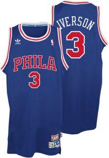 Allen Iverson Jersey Adidas Blue Throwback Swingman 3 Philadelphia 76ers Je