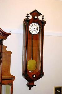 RARE Miniature Antique Single Weight Vienna Regulator Wall Clock