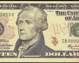 UNC 2006 $10 Dollar Bill Low 1253 Federal Reserve Note Currency Paper Money