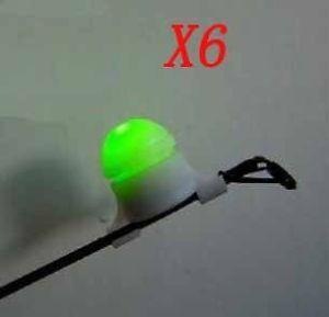 6pcs Night Fishing Rod Tip Clip on Fish Bite Alarm Alert Strike Light Lights