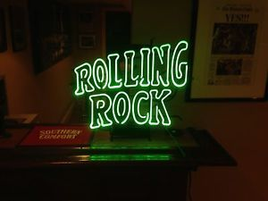 New Rolling Rock Beer Lager Real Glass Neon Light Bar Pub Sign