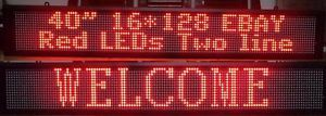 """40"""" Red 2 Line LED Programmable Scrolling Sign Indoor"""