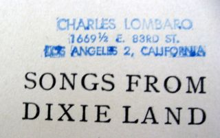 Songs from Dixie Land Stanton 1900 Southern Plantation Songs Poems Dixieland