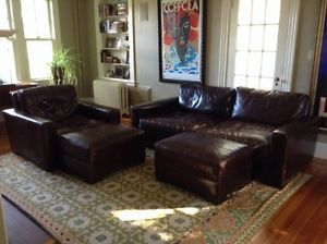 ... Restoration Hardware Maxwell Leather 7u0027 Sofa Couch Set Includes Chair Ottomans ... & Restoration Hardware Down Filled Belgian Linen Slope Arm Sofa ...