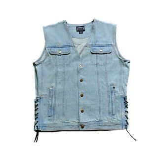 XL Mens Vintage Denim Motorcycle Biker Vest Extra Large XL