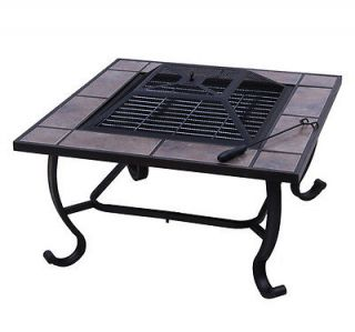 Outsunny Outdoor Firepit Patio Metal Fire Pit Heater Stove BBQ Grill Fireplace
