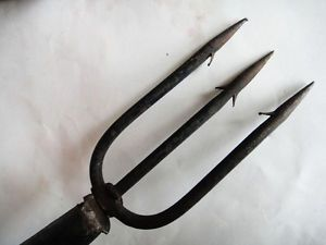 """Antique 54""""Farm Tool Wrought Iron 3 Prong SM Spear Wood Handle Hay Fish Hunting"""