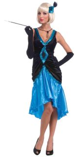 Roaring 20's Black and Blue Ritzy Flapper Adult Costume Dress New