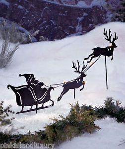 Solar LED Santa Reindeer Light Silhouette Outdoor Stake Christmas Yard Lawn Art