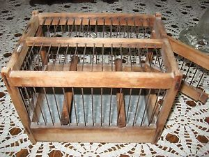 Antique Original RARE Wood Metal Coal Miners Bird Cage A Canary in A Coal Mine