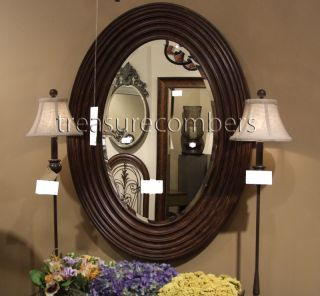 Large Oval Beveled Wall Mirror Chic Ribbed Frame