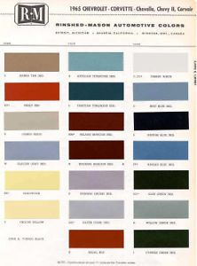 1965 Chevy Paint Color Sample Chips Card Colors