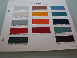 1965 GMC Truck Paint Chips Brochure Pickup Panel Stake etc 14 Colors