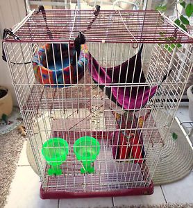 Prevue Ferret Cage Large 37HX23WX17D Lots of Accessories Feeding Bowls Clean