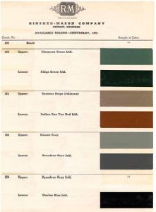 1941 Chevy Paint Color Sample Chips Card Colors