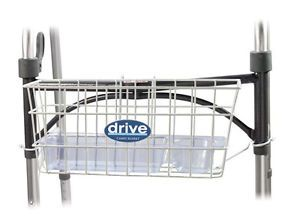 "New Drive Walker Rollator Basket for All 1"" Walkers with Tray Cup Holder Insert"