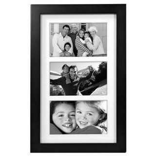 Modern Black Wood Wall Collage Frame 3 Opening Matted 5x7 Black Picture Frame