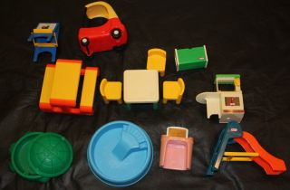 ... Little Tikes Dollhouse Furniture Toy Lot Picnic Table Slide Chair  Sandbox Pool ...