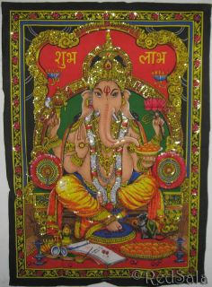 Hindu Elephant God Ganesh Good Luck India Wall Hanging
